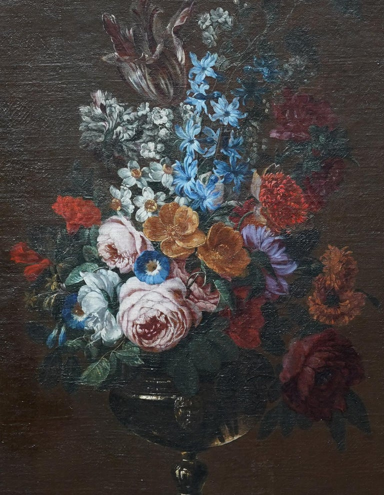 Floral Bouquet with Narcissi - Dutch Golden Age still life oil painting flowers - Old Masters Painting by Jan Van Huysum