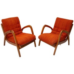 Jan Vaněk, Pair of Beechwood Armchairs with Removable Cushions, for Krasna Jizba