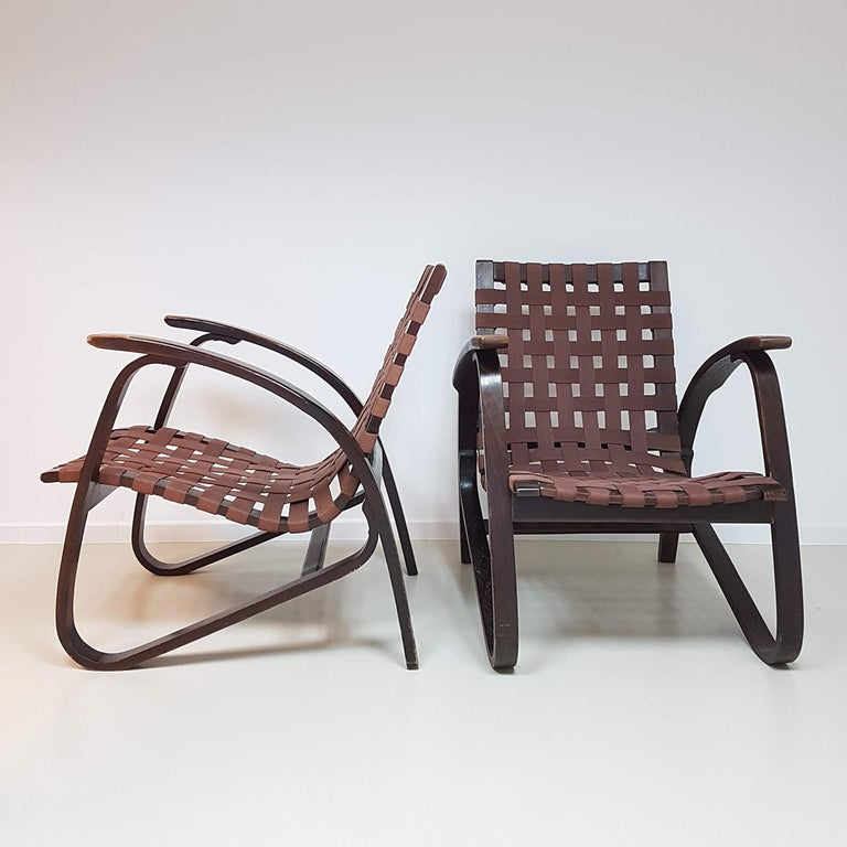 Art Deco Jan Vanek Pair of Bentwood Easy Chairs Woven Straps Upholstery, 1930s For Sale
