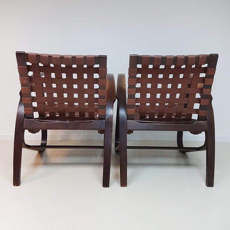 Czech Jan Vanek Pair of Bentwood Easy Chairs Woven Straps Upholstery, 1930s For Sale