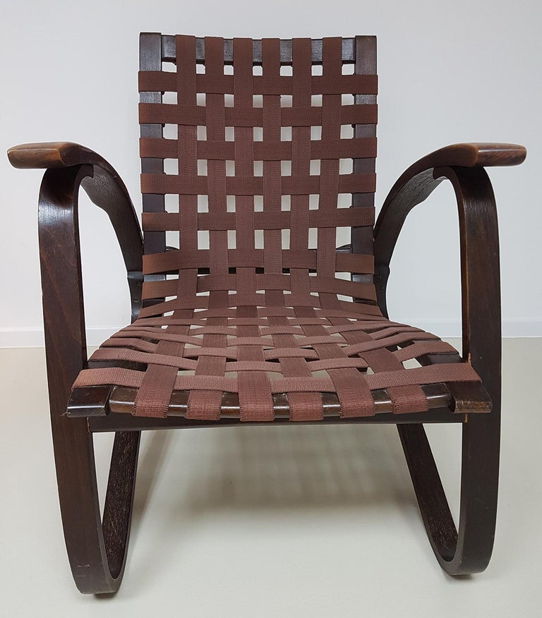 Mid-20th Century Jan Vanek Pair of Bentwood Easy Chairs Woven Straps Upholstery, 1930s For Sale