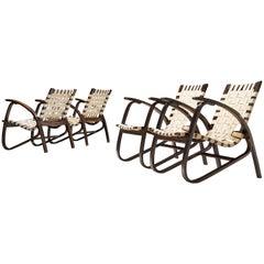 Jan Vanek Sculptural Lounge Chairs in Wood and Original Canvas Webbing