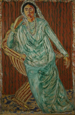 Beautiful Indian woman dressed in Green Sari in a chair, large vertical painting