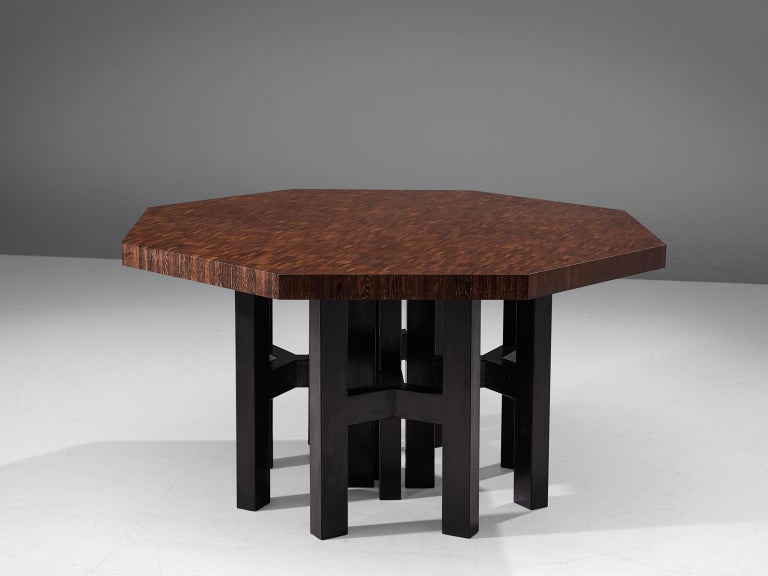 Jan Vlug for Bergwood, dining table wengé and metal, Belgium, 1970s