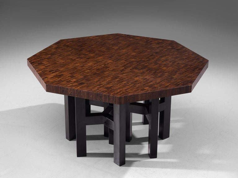 Belgian Jan Vlug Hexagonal Shaped Dining Table in Wengé and Metal For Sale