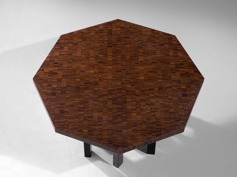 Jan Vlug Hexagonal Shaped Dining Table in Wengé and Metal For Sale 1