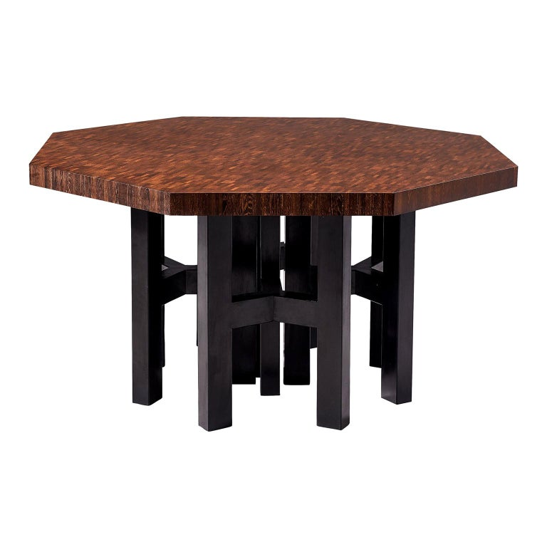 Jan Vlug Hexagonal Shaped Dining Table in Wengé and Metal For Sale