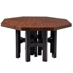 Jan Vlug Hexagonal Shaped Table in Wengé and Metal
