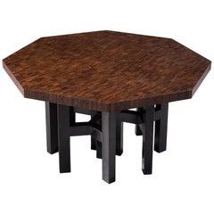 Jan Vlug Hexagonal Shaped Table in Wengé and Metal