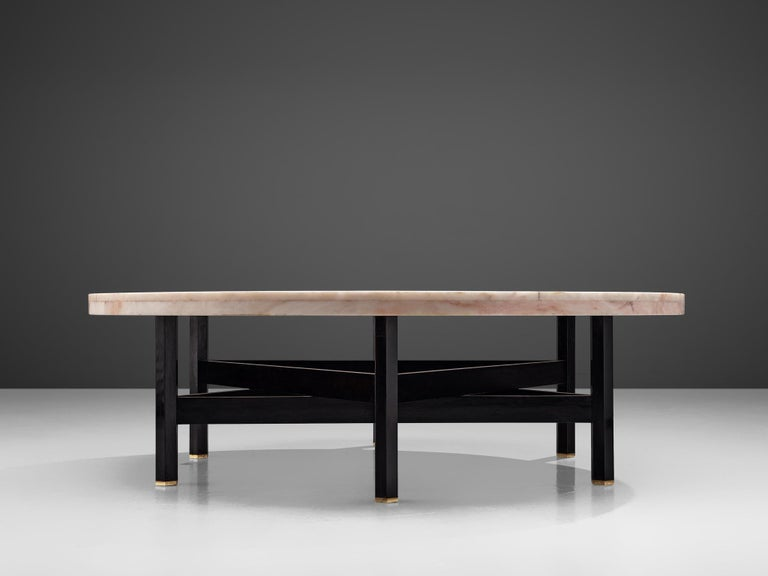 Belgian Jan Vlug Large Cocktail Table with Round Marble Top For Sale