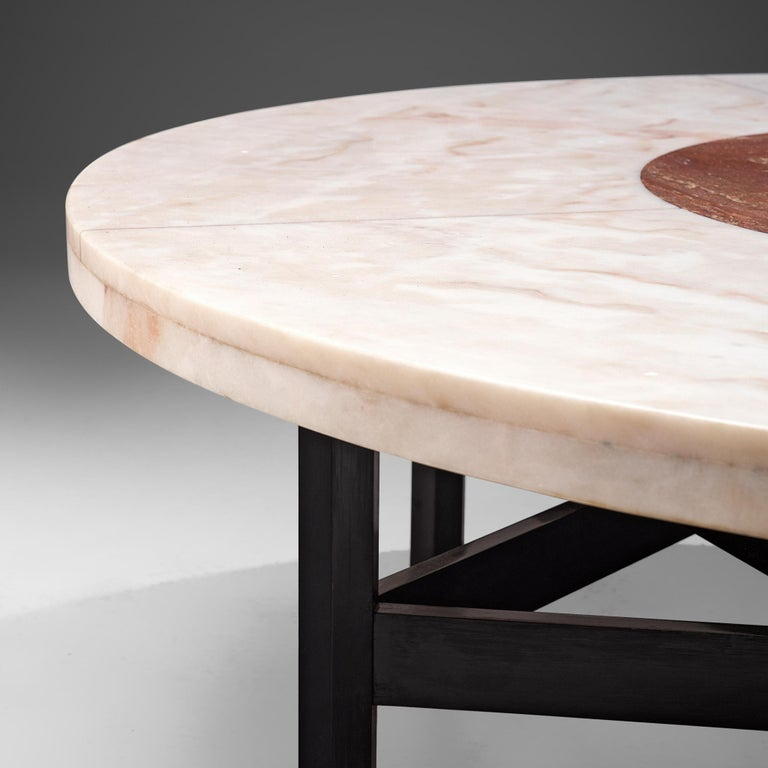 Jan Vlug Large Cocktail Table with Round Marble Top In Good Condition For Sale In Waalwijk, NL