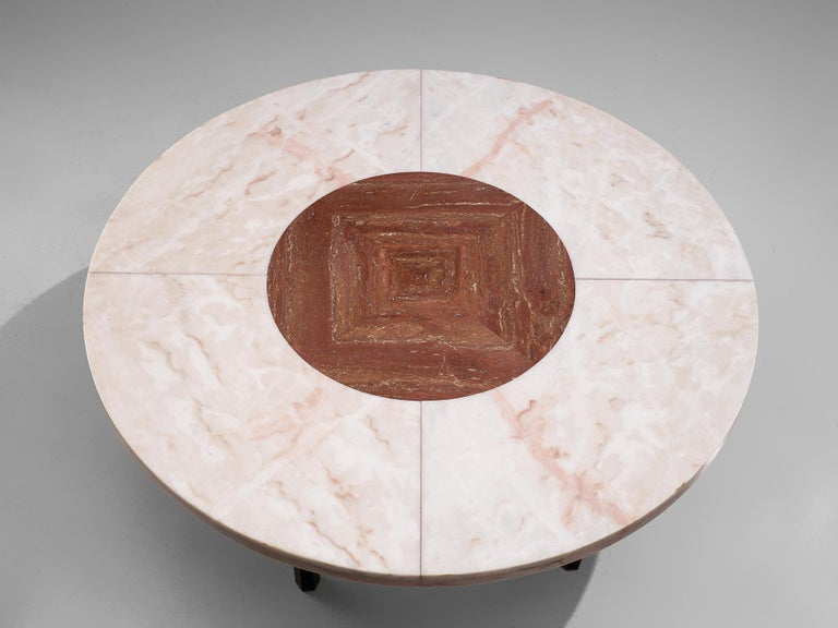 Brass Jan Vlug Large Cocktail Table with Round Marble Top For Sale