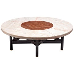 Jan Vlug Large Cocktail Table with Round Marble Top