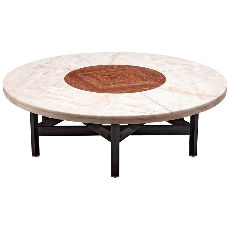 Jan Vlug Large Cocktail Table with Round Marble Top For Sale