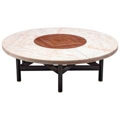 Jan Vlug Large Coffee Table with Round Marble Top