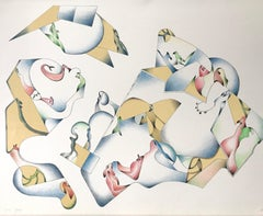 ABSTRACT 1 Signed Lithograph, Modern Line Drawing, Cream, Blue, Yellow, Red