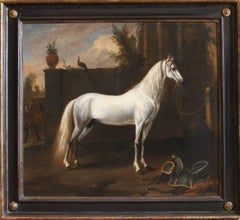 17th Century Oil Painting of Magnificent Horse 'The Grey Arabian'