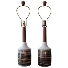 Jane and Gordon Martz Ceramic and Walnut Table Lamps