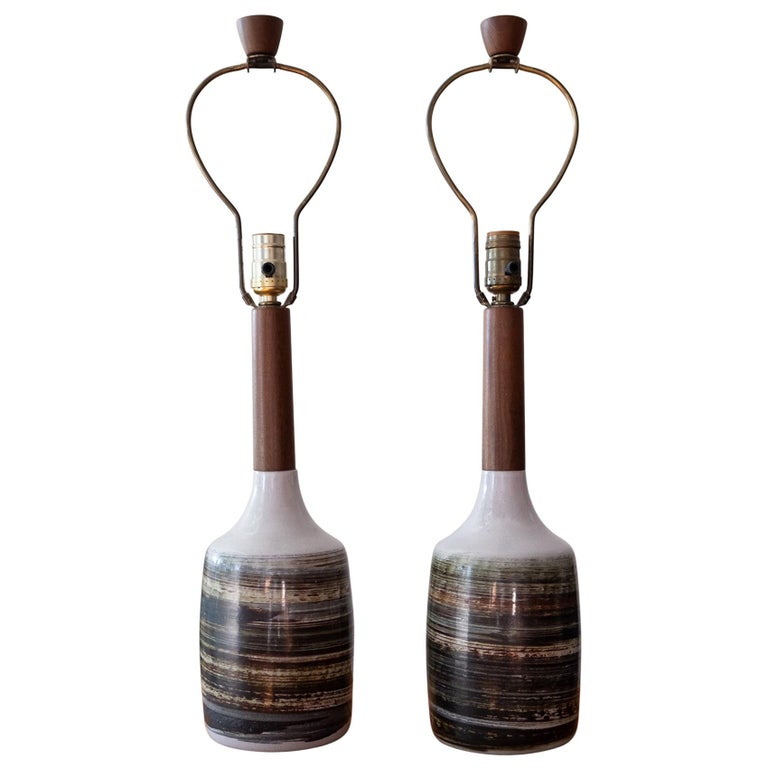 Jane and Gordon Martz Ceramic and Walnut Table Lamps For Sale