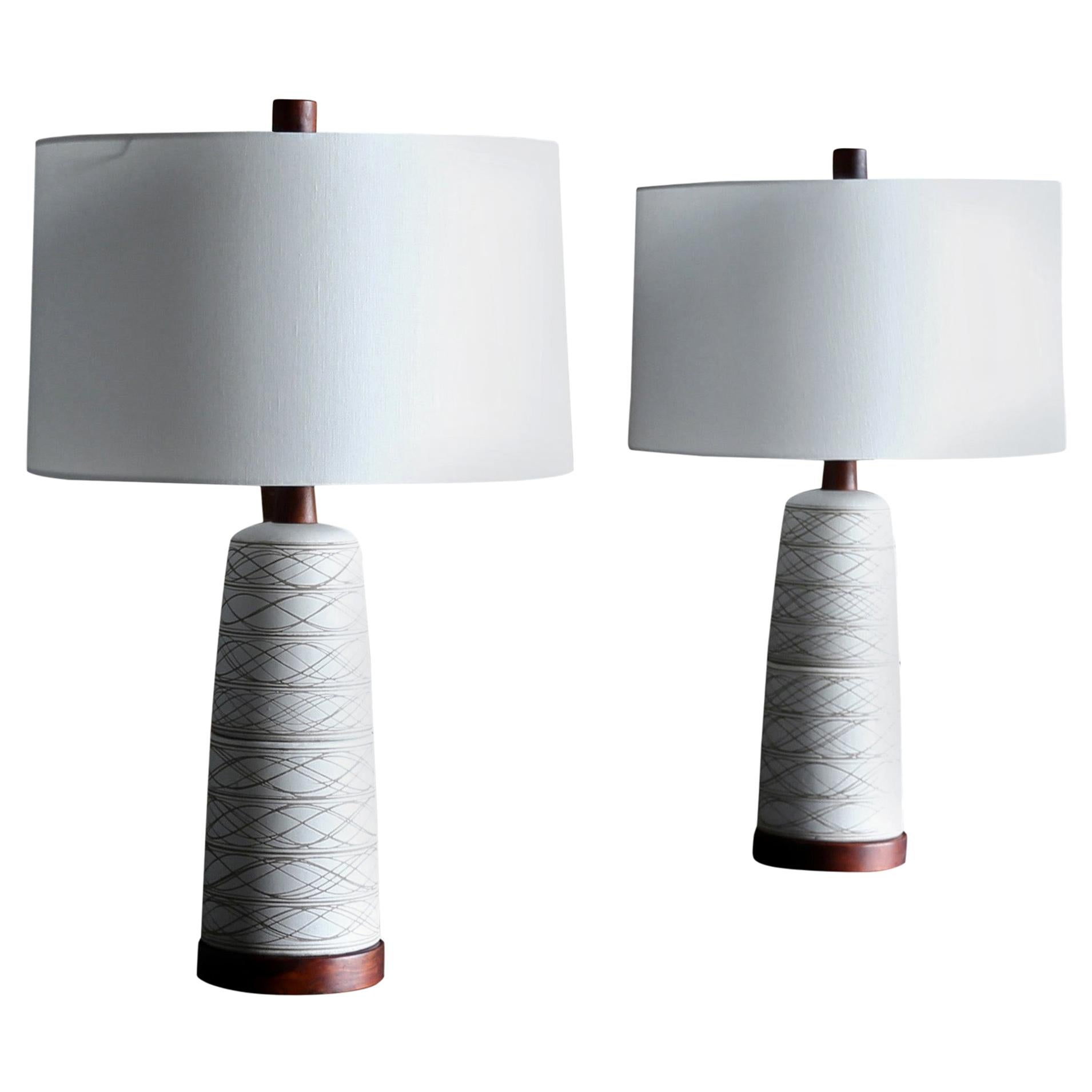 Jane and Gordon Martz Ceramic Table Lamps for Marshall Studios, circa 1965