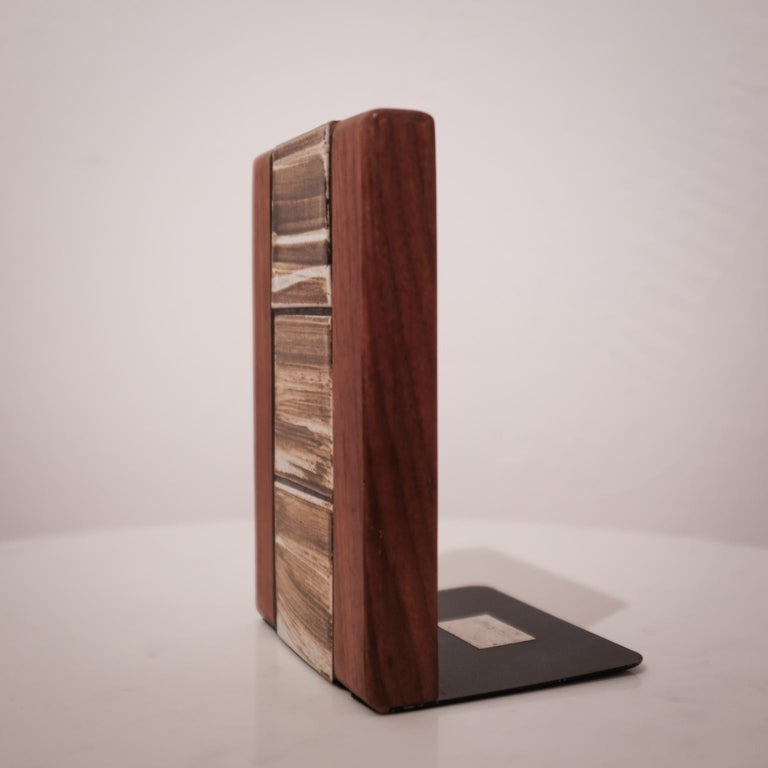 American Jane and Gordon Martz Walnut Ceramic Bookends for Marshall Studios For Sale