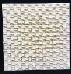 Allegro I / ceramic wall sculpture - white with ivory / yellow