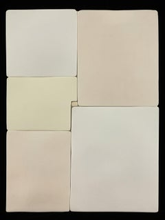 Mondrian III / minimal ceramic wall sculpture - cream, white, neutral