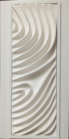Ode VI / abstract ceramic wall sculpture in pure white