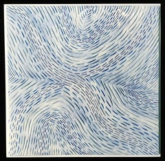 Op Art Refdux II / ceramic wall sculpture - blue, white, 3D
