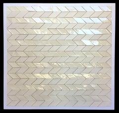 Zig Zag / ceramic wall sculpture - cream, white, neutral 36 x 36 in