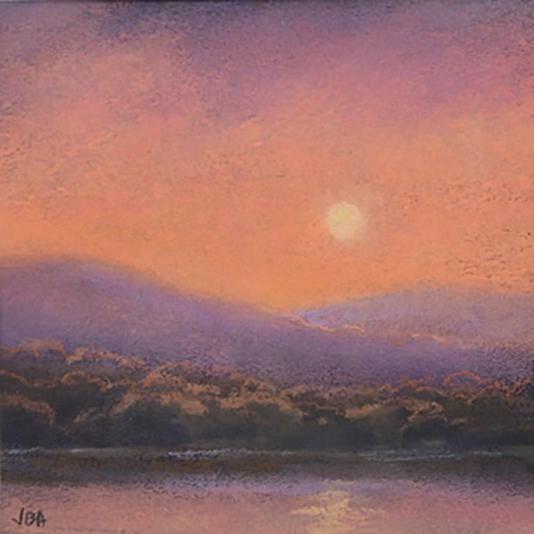 Jane Bloodgood-Abrams Landscape Art - 25 Series, No. 19: Landscape Drawing on Paper of a Hudson Valley Sunset