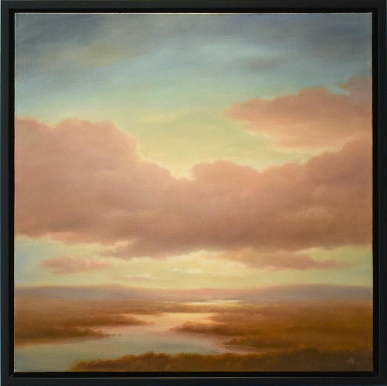 Above (Luminist Style Hudson River School Landscape Painting of Clouds & Sunset) For Sale 1