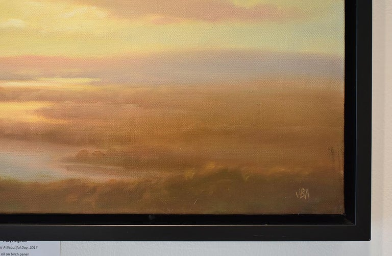 Above (Luminist Style Hudson River School Landscape Painting of Clouds & Sunset) For Sale 4