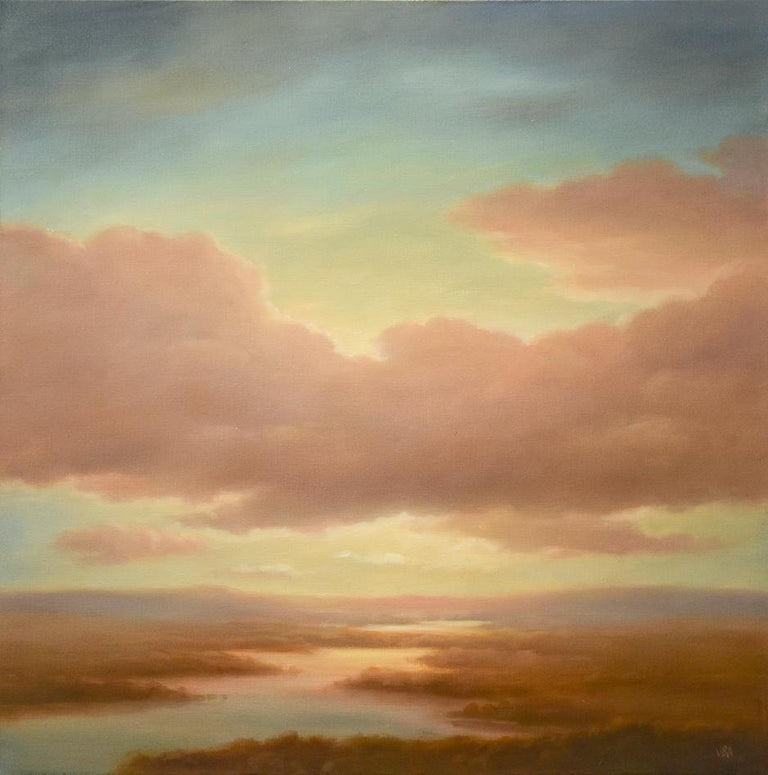 Modern Luminist, Hudson River School style landscape painting on canvas of a sunset over a river valley by Jane Bloodgood-Abrams. Square landscape painting, 24 x 24 inches unframed, 25.5 x 25.5 inches framed Simple black frame with d-rings and