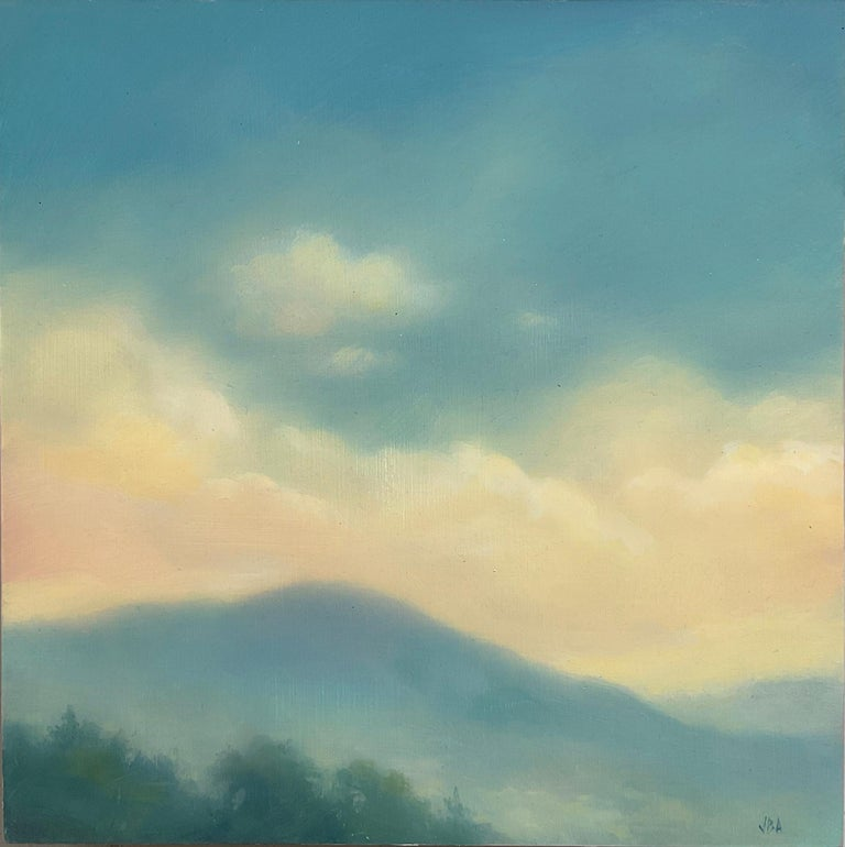 Catskills Spring No. 1 by Jane Bloodgood-Abrams Contemporary, Hudson River School style landscape painting on panel of a clouds floating over the mountains  Square landscape painting, 12 x 12 x 2 inches inches unframed  Artist's signature is located