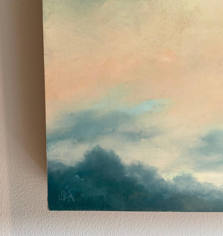 Catskills Spring No. 2 by Jane Bloodgood-Abrams Contemporary, Hudson River School style landscape painting on panel of a clouds floating over the mountains  Square landscape painting, 12 x 12 x 2 inches inches unframed  Artist's signature is located