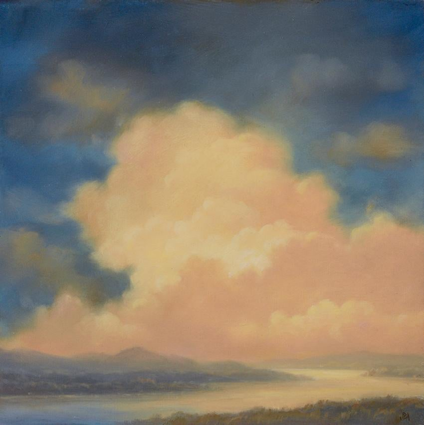 Cloud Lift: Hudson River School Landscape Painting of Clouds, Forest & River