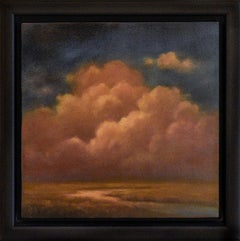 Clouds Over the Marsh: Hudson River School Style Landscape Painting, Framed