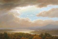 Iconic Landscape: Hudson River School Landscape Painting of a Mountainous Valley