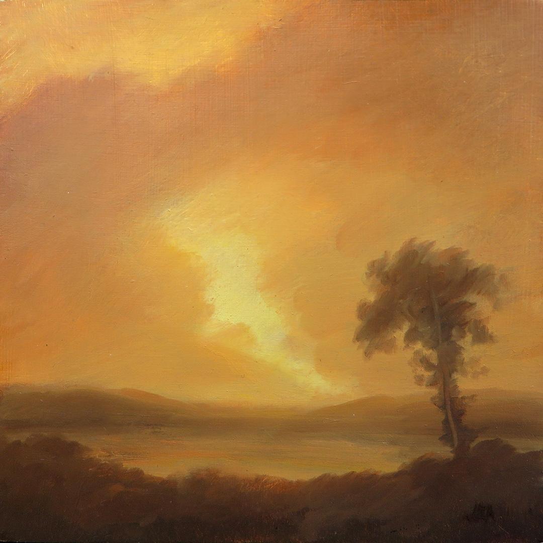 Illuminata I (Luminist & Hudson River School Style Landscape Painting, Framed)