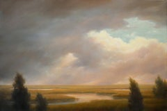 Passing Clouds Over the Marshes (Hudson River School Landscape Painting, Framed)