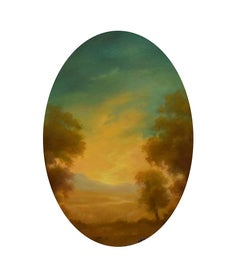 Relic: Oval Hudson River Valley Landscape Painting in Italian Rococo Style Frame