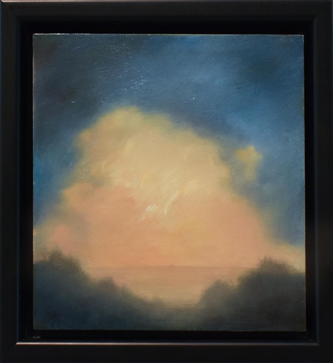 Rising Clouds II: Modern, Hudson River School Landscape Painting, Framed