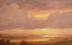 The Valley Luminous: Hudson River School Landscape Oil Painting of Summer Sunset