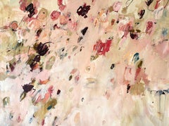 Large Floral Abstract Pink Beige Cream Green Burgundy Modern Contemporary 49x64