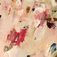 "Pink Beige Floral Large Contemporary Abstract Painting 64x49 ""Bohemian Rhapsody"""
