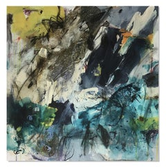 Floral Abstract Modern Contemporary Painting Yellow Blue Purple Cream Grey 30x30