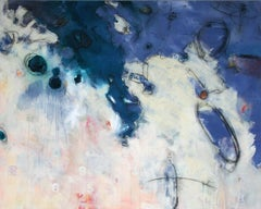 "Jane Burton. ""Eight"": Blue & white contemporary, mixed media abstract painting"