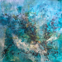 "Jane Burton. ""Galaxies Away"" Original Blue large oversized abstract painting."