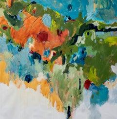 "Jane Burton. ""Lush"" Vibrant Original Abstract Painting. Expressive mixed media."